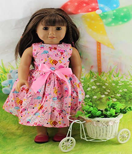 Teenitor(TM) Pink Dress With Bowknot Fits 18 Inch Girl Dolls (Shipping By FBA) - 1