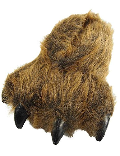 Large Brown Grizzly Bear Paw Slippers (Bear Slippers compare prices)