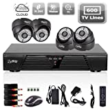 4CH Full D1 DVR Motion Detection CCTV Home Security Kit 600TVL Night Vision Dome Camera