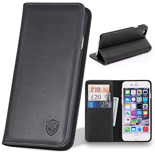 iPhone 6s Plus ケース / iPhone6 Plus ケース 本革 手帳型 SHIELDON® iPhone 6 Plus レザーケース iPhone6s Plus / iPhone6 Plus カバー 5.5インチ スタンド機能付き カードホルダー アイフォン6s プラス / アイフォン6 プラス マグネット式 ウォレット財布型 ブラック