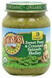 Earths Best Organic Sweet Peas and Creamed Spinach Medley, 6 Ounce Jars (Pack of 12)