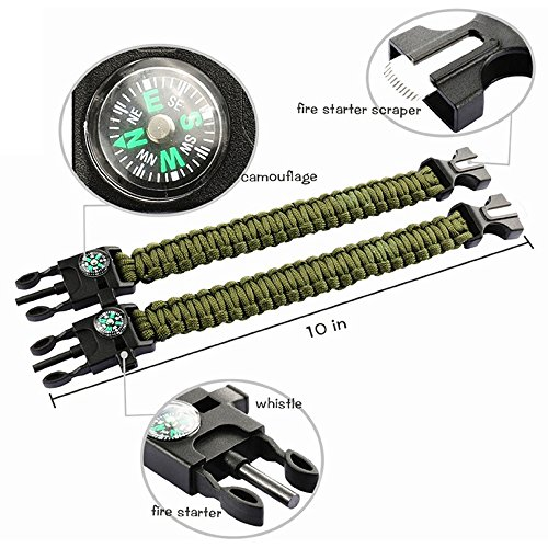 2-PACK-Multifunctional-Paracord-Bracelet-ECVILLA-Outdoor-Survival-Kit-Parachute-Cord-Buckle-W-Compass-Flint-Fire-Starter-Scraper-Whistle-for-Hiking-Camping-Emergency-More
