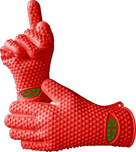 VRP Heat Resistant Silicone BBQ Gloves - Best Protective Insulated Oven, Grill, Baking, Smoker or Cooking Gloves - Rust Red - Small - Replace Your Potholder and Mitts - Five Fingered Waterproof Grip (Silicone Oven Gloves Small compare prices)