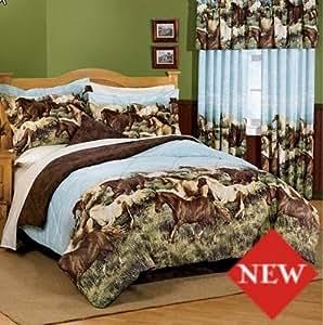 Thunder run wild horses king comforter set 8 for Wild bedding