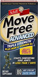 Move Free Glucosamine Chondroitin MSM Vitamin D3 and Hyaluronic Acid Joint Supplement (Vitamin D 240 Coated Tablets)