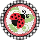 """Unique 7"""" Ladybug Party Cake Plates (8 Count), Red"""