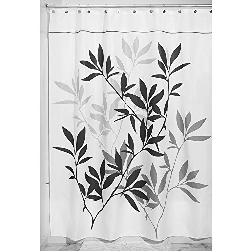 interdesign leaves x long shower curtain black and gray 72 inch by 96 inch new ebay. Black Bedroom Furniture Sets. Home Design Ideas