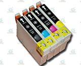4 Chipped Epson T0711-4 (T0715) Cheetah Compatible Ink Cartridges for Epson Stylus SX200 Printer