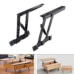 Sauton 1pair Folding Lift up Top Table Mechanism Hardware Fitting Hinge spring Standing Desk Frame (Color: Black)