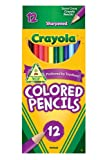 Crayola Long Barrel Colored Woodcase Pencils, 3.3 mm, Assorted Colors, 12 Color Set (68-4012)