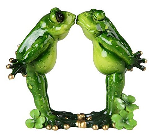 StealStreet Green Frog Couple Pucker Up Kissing Decorative Figurine Statue