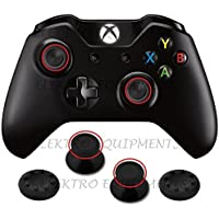 Third Party Xbox One Controller Replacement Plastic 3D Joystick Cap with Anti-slip Silicone Cover - 1 Pair each (Black)