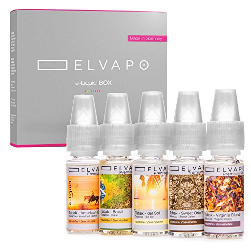 5 x 10ml Elvapo E-LIQUID-BOX | Made in Germany | Tabak-Set: American Blend, Virginia Blend, Sweet Orient, Del Sol, Brasil | Probierset für E-Zigaretten und E-Shishas | 0mg (ohne Nikotin)