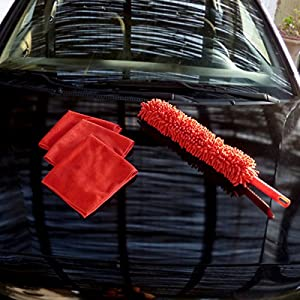 Josephstones Car Duster and 3 Microfiber Towels Cleaning Kit with Storage Bag. Flexible Washable. Effectively and Easily Clean, The Best Kit for Car and Home.