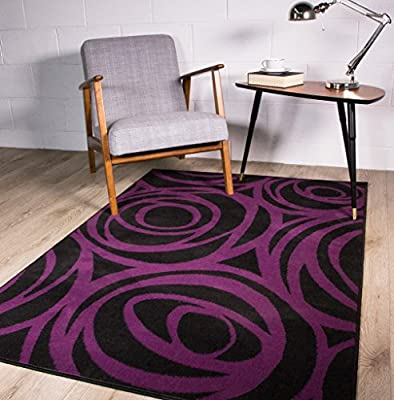 Contemporary Purple and Black Modern Floral Silhouette Pattern Outline Design Area Rug