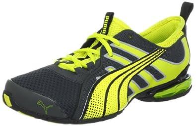 PUMA Men's Voltaic 4 Fade Running Shoe, Dark Shadow/Fluorescent Yellow, 8.5 D US