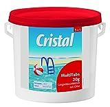 Cristal MultiTabs 20g 5 in 1 | 5 kg Eimer | 5 in 1 Chlor-Komplettpflege mit Langzeitdesinfektion, Algenvernichtung, Trübungsentfernung, Chlorstabilisierung, Härtestabilisator