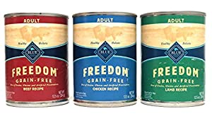 Blue Buffalo Freedom Grain Free Wet Adult Dog Food Variety Pack, 3 Flavors (Lamb, Chicken, & Beef), 12.5-Ounces Each (6 Pack)