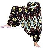 Loong Chas Women Fine Art Print Smocked Waist Harem Jumpsuit Pants