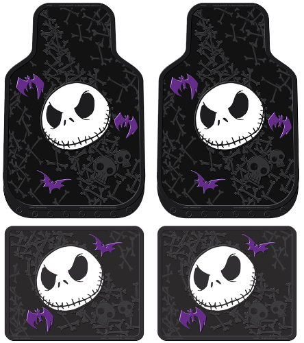 Nightmare Before Christmas Jack Skellington Purple Bats and Cross Bones Tim Burton Disney Front & Rear Car Truck SUV Seat Rubber Floor Mats Set - 4PC (Disney Car Floor Mats compare prices)