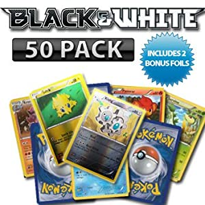 50 Pack Black and White Pokemon Cards with Two Bonus Foils