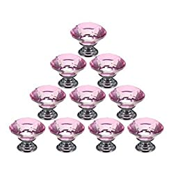 iPerb® 10PCS Crystal Glass Diamond Shape Cabinet Knob Cupboard Drawer Pull Handle (pink, 30 mm)