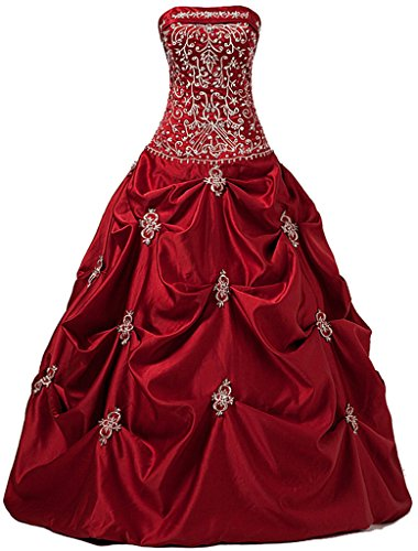 Oailiya Women's Long Formal Prom Ball Dress Party Gown Size 8 Red