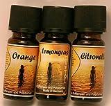 Duftöl Set 3 er Set Zitrus mit Orange, Lemongras,...