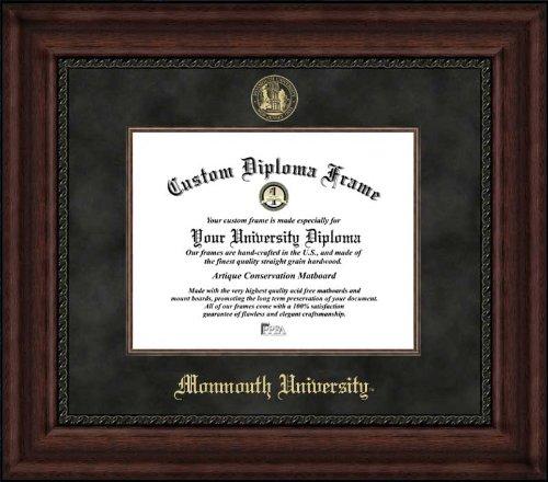 Monmouth University Hawks - Embossed Seal - Suede Mat - Mahogany - Diploma Frame