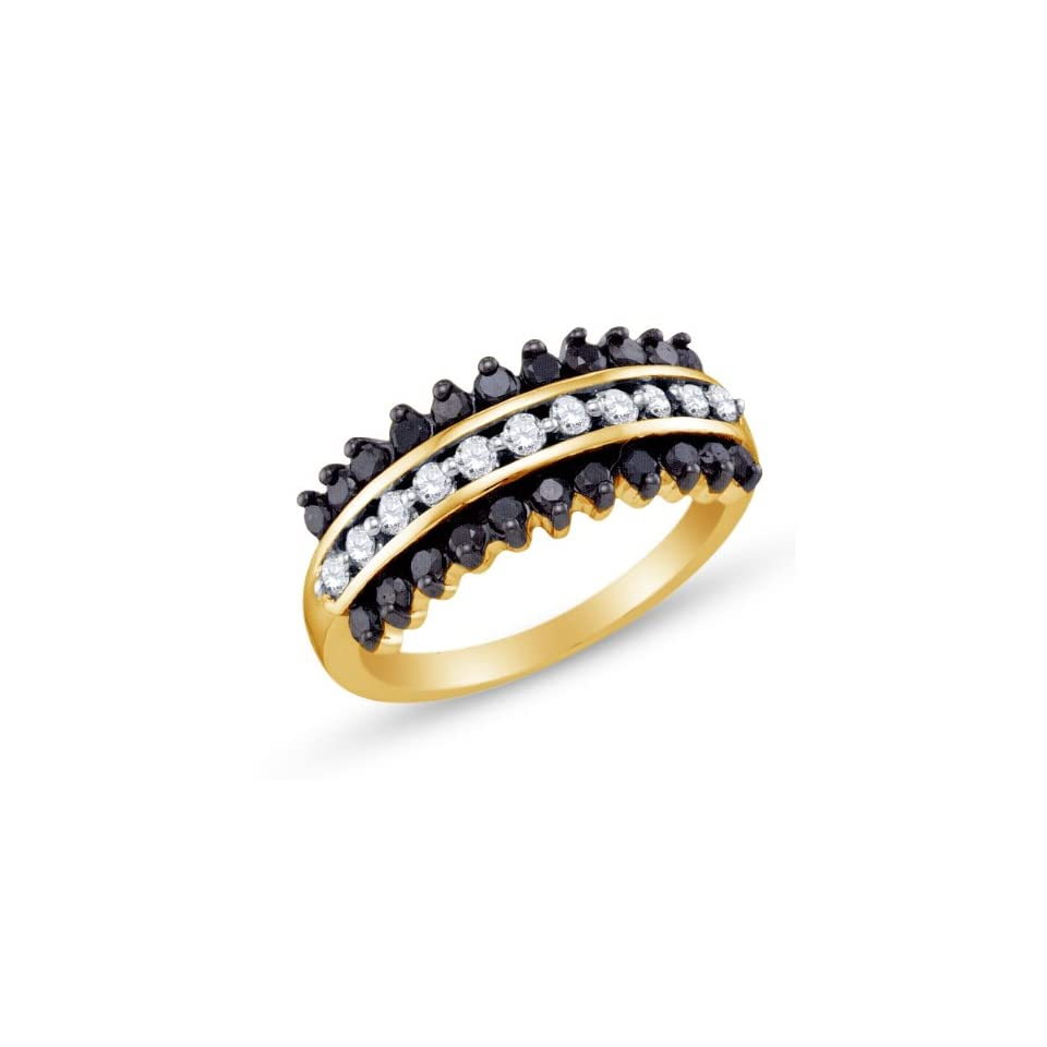 Size 4   10K Yellow and White Two 2 Tone Gold Channel Set Round Cut Black and White Diamond Ladies Womens Fashion, Wedding Ring OR Anniversary Band (.85 cttw.)