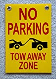 "1-Pcs Exciting Modern No Parking Tow Away Zone Printed Board Plastic Warning Decal Size 8"" x 12"" with Grommets Type Yellow"