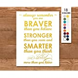 Art Poster, Winnie the Pooh, Always Remember You Are Braver than You Believe Stronger than You Seem and Smarter than You Think and Loved More than You Know, Quote, Choose Colors, Gold and White