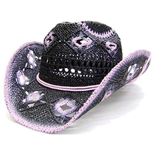 modestone-womens-open-weave-straw-cappello-cowboy-l-black-pink