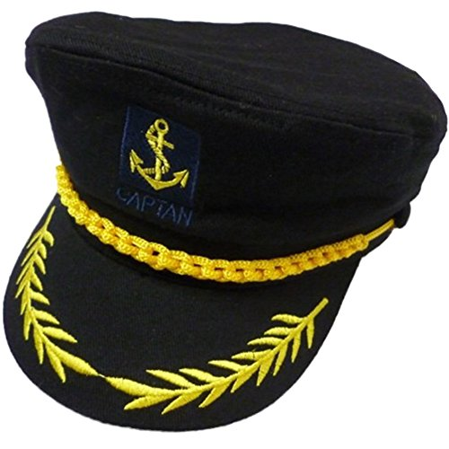 eYourlife2012 Adult Yacht Boat Ship Captain Costume Navy Marine Admiral Hat Cap (Black) (Admiral Cap compare prices)