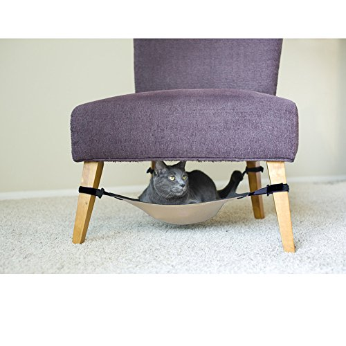 CocoGo® Cat Hammock Secure Kittens Puppy Bed Fit Under Chair Extend Band (Grey and Beige)