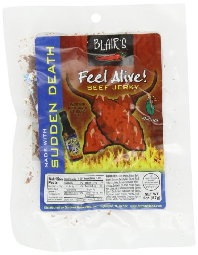 Blair's Feel Alive Jerky XXX Hot (Sudden Death), 2-Ounce Packages (Pack of 6)