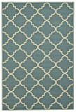 Anti-Bacterial Rubber Back AREA RUGS Non-Skid/Slip 5x7 Floor Rug | Ocean Blue Moroccan Trellis Indoor/Outdoor Thin Low Profile Living Room Kitchen Hallways Home Decorative Traditional Area Rug