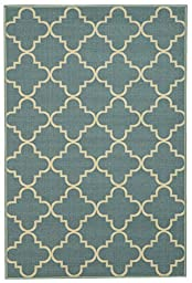 Anti-Bacterial Rubber Back AREA RUGS Non-Skid/Slip 3x5 Floor Rug   Ocean Blue Moroccan Trellis Indoor/Outdoor Thin Low Profile Living Room Kitchen Hallways Home Decorative Traditional Rug