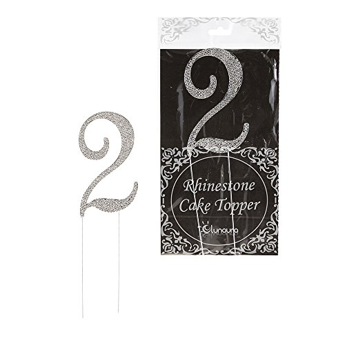 Lunaura - Sparkling Rhinestone Number Cake Topper - 2 (Number Cake Topper compare prices)