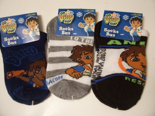 Go Diego 3 Sock Set ~ Size 4-6 (With Telescope On Navy, Gray And White Stripes, Black Animal Rescue)