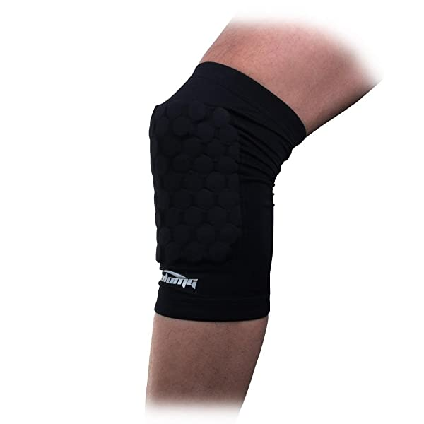 COOLOMG Pad Crashproof Antislip Basketball Leg Knee Short Sleeve Protector Gear (1 Piece), Black, Medium (Color: Black, Tamaño: Medium)