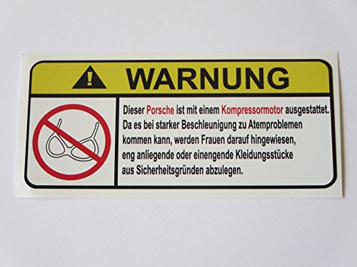 Porsche-Kompressor-Motor-German-Lustig-No-Bra-Warnung-Aufkleber-Decal-Sticker