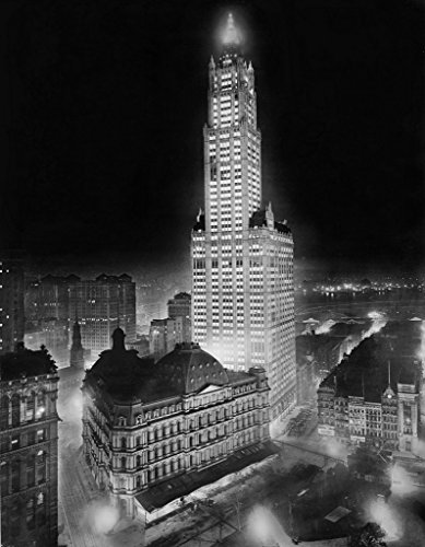 new-york-city-historic-black-white-photo-the-woolworth-building-illuminated-at-night-c1913-16x20in