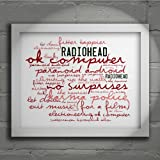 `Zephyr` Art Print - RADIOHEAD - OK Computer - Signed & Numbered Limited Edition Typography Unframed 10x8 Inch Album Wall Art Print - Song Lyrics Mini Poster