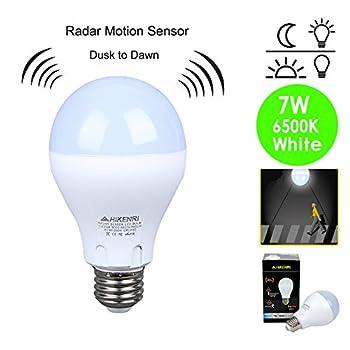 Motion Sensor Light Bulb 7W(60W Equivalent) Radar Smart Bulb Dusk to Dawn LED Motion Sensor Light Bulbs E26 Base Indoor Sensor Night Lights Soft White 6500K Outdoor Motion Sensor Bulb Auto On/Off