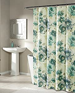Mstyle Fabric Shower Curtain Blue And Green Floral Pattern On Cre