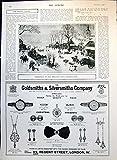 Old Original Antique Victorian Print Christmas In Holland Snowscene Adverts Lemco Nurse 1913 130T147