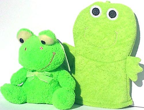 Frog Plush and Bath Mitt Set