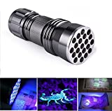 Welltop® 21 LED UV Ultra Violet Blacklight Pocket Flashlight for Spotting Scorpions and Bed Bugs, Counterfeits, A/C Leaks and Pet Stains 21LED UV counterfeit money detector flashlight violet light to detect fluorescent substance according to the scorpion