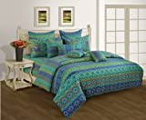 Swayam Shades N More Printed Cotton Double Duvet Cover - Multi Blue (TSR02-1423)
